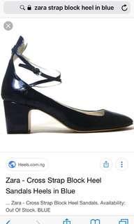 Zara cross strap block heel sandals in Blue