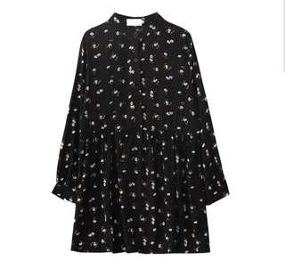 •INSTOCK• BLACK FLORAL OVERALL DRESS