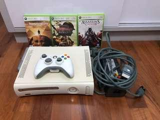 Xbox 360 with control & 3 games