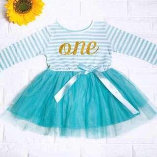 🚚 Instock - 1st blue birthday dress, baby infant toddler girl