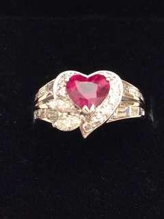 聖誕減價🎄18K金靚色紅寶石鑽石介指
