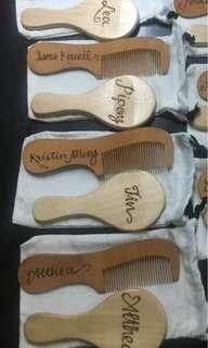 personalized comb & mirror