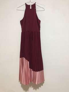 2 tone pleated dress