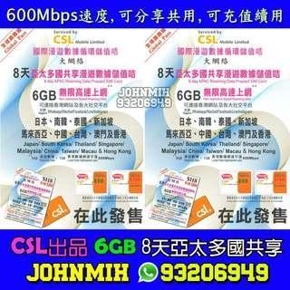 CSL 8天 6GB 4G LTE 極速  亞太區 多國共享漫遊數據儲值咭 旅遊卡 旅行卡 漫遊卡