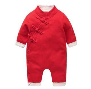 [Pre-order] Chinese New Year baby romper clothes red qipao