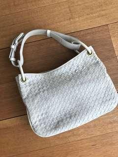 Creme Leather Bottega Handbag