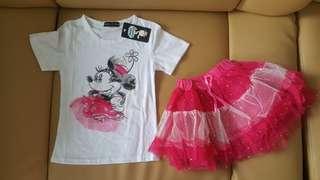 Minnie pink tutu set sz120 dan 130