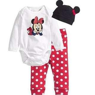 SALES! Minnie Polka Dots Red Baby Girls Romper Pants With Hats Christmas Gifts