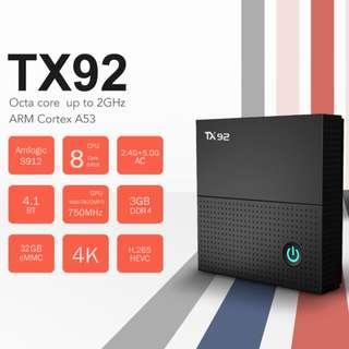 HIGH SPEC TV BOX TX92 ANDROID 7.1.2 3GB DDR4 32GB EMMC FLASH S912 WITH BLUETOOTH