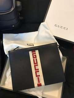 Authentic Gucci Stripe Leather Pouch