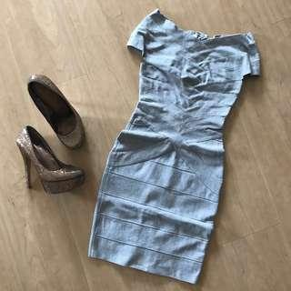 Silver Grey Bandage Dress