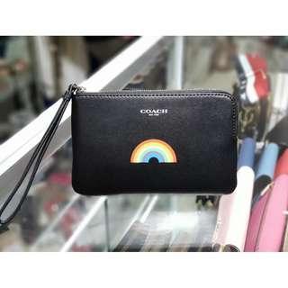 Authentic Coach Corner Zip Wristlet with Rainbow F26938 - Black