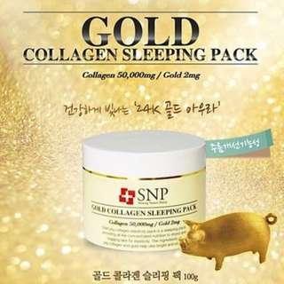 🚚 SNP Gold Collagen Sleeping Pack 100g, Anti-aging