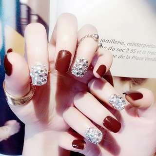 Red Diamond Fake Nails