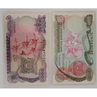🚚 For Collector, Old Notes, Singapore 1st set of Currency, the Orchid series, a set of 2 Bank Notes, A1 $1000 and $500 bank notes, highly collectibles, Rare Mr Lim Kim San signature for $1K note