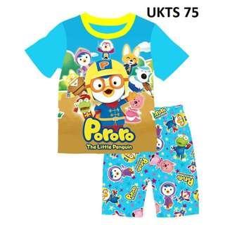 Pororo Blue Short Sleeve Tshirt/Shorts Set for ( 2  to 7  yrs old)