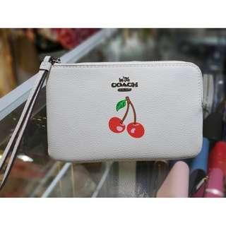 Authentic Coach Corner Zip Wristlet with Cherry Motif F28384 - Chalk