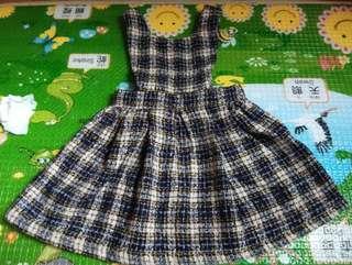 全新正韓adikids女童毛格紋吊帶裙xs,約80-85cm