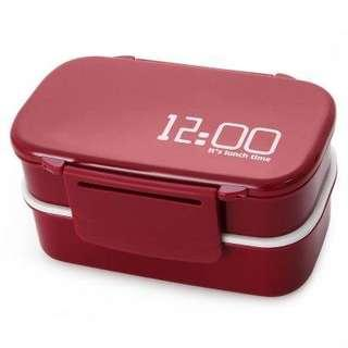 JAPAN STYLE DOUBLE TIER BENTO LUNCH BOX PP CUTE MEAL BOX TABLEWARE MICROWAVE OVEN (RED) -