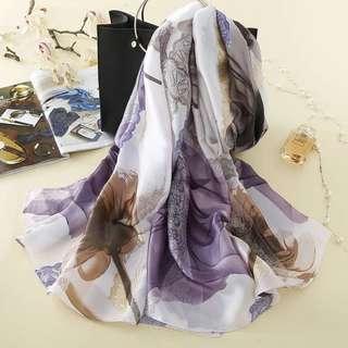 Printed Silk Satin Shawl