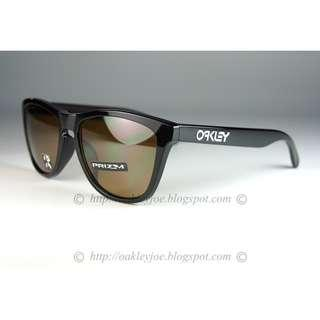c24ce4b66e4 BNIB Oakley Custom Frogskins Asian Fit polished black + tungsten prizm  polarized lens sunglass shades