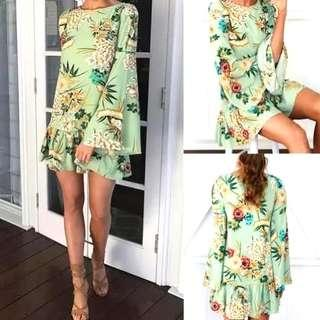 Floral mini dress bohemian top