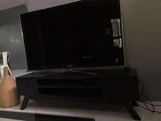 Black Hardwood Mahogany TV Stand with Drawers