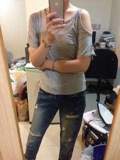 🚚 正韓灰色純棉露肩上衣#十一月女裝半價