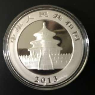 Year 2013, 99.9% Silver Chinese Panda coin  with Acrylic Capsule