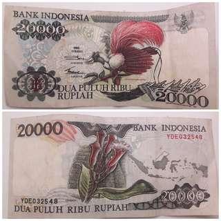 Uang 20000 lama tahun 1992