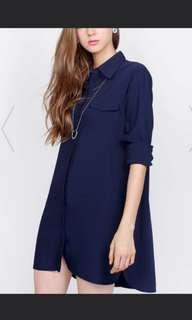 Boyfriend shirt dress navy