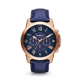 {{LIMITED OFFER}}Fossil Grant Chronograph Navy Leather Watch