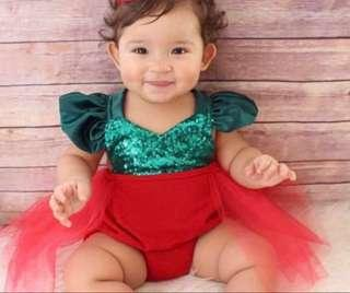 Ready stock -Christmas One piece jumpsuit baby romper with sequins