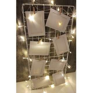 [RENTAL] Dessert Table_Photo Hanging Display Metal Grid Panel w Fairy Light Deco