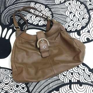 [SALE] Authentic COACH Brown Leather Top Handle Satchel Handbag