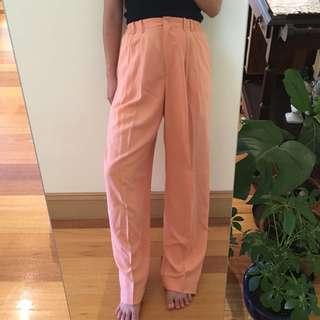 Vintage peach silk pants