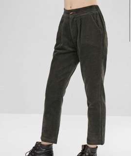 "Corduroy Pencil Pants With Pocket - Dark Green ""2xl"""