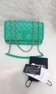 Chanel Filgree Menthe Caviar GHW #24