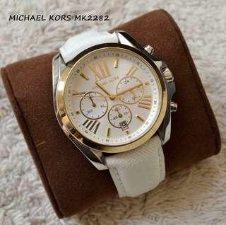 Sale‼️MK Bradshaw White and Gold Series Genuine Leather Watch Php 3,500