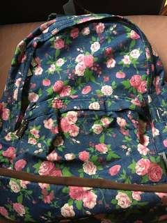 Floral print backpack with laptop sleeve