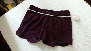 [92%新]深紫色厚布短褲三分褲 圓花邊 Deep purple shorts