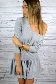 One-sided Shoulder Grey Dress