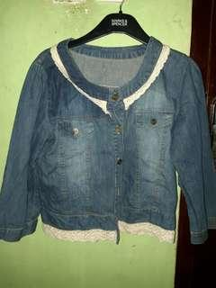 Denim Jacket with white renda