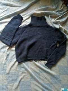 Penshoppe Blue Cropped Turtleneck Sweater