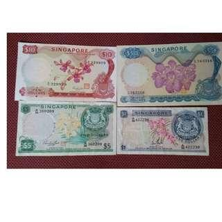 Singapore Orchid $1,5,10,50 banknotes