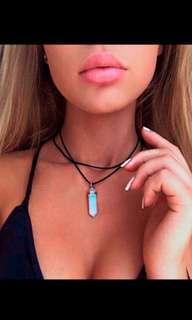 Leather choker with opal pendant boho