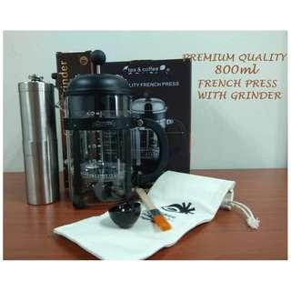 800ML FRENCH PRESS WITH COFFEE GRINDER SET