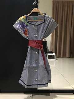 Heirloom Vintage Blue Floral Dress (Size S)