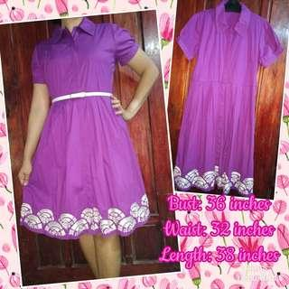 Violet Button Down Dress