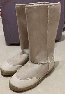 全新Boots 毛毛靴 Cotton On 米色毛毛雪地靴 中筒靴 滑雪 雪地